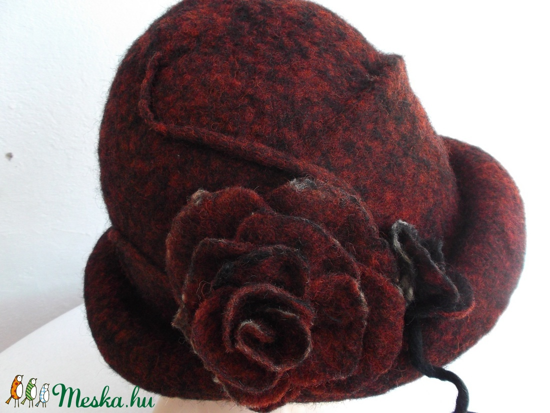 Bordó nemezelt kalap és táska - ruha & divat - sál, sapka, kendő - kalap - Meska.hu