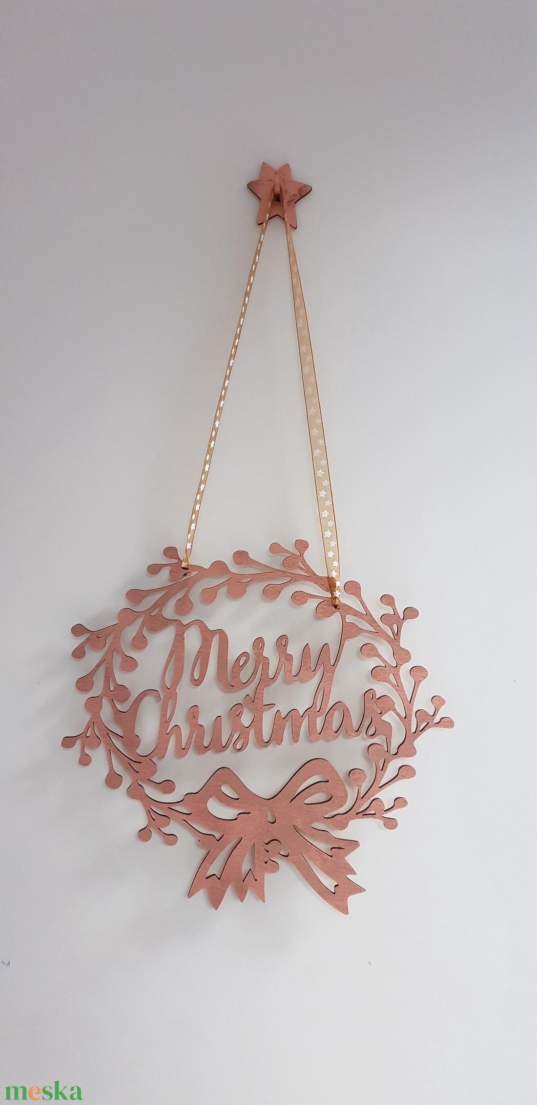 Karácsonyi ajtó-ablakdísz bronz színre festve - karácsony - karácsonyi lakásdekoráció - karácsonyi ablakdíszek, ablakmatricák - Meska.hu