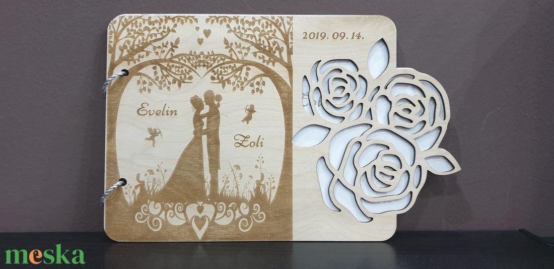 Esküvői gravírozott egyedi vendégkönyv esküvőre - esküvő - emlék & ajándék - vendégkönyv - Meska.hu