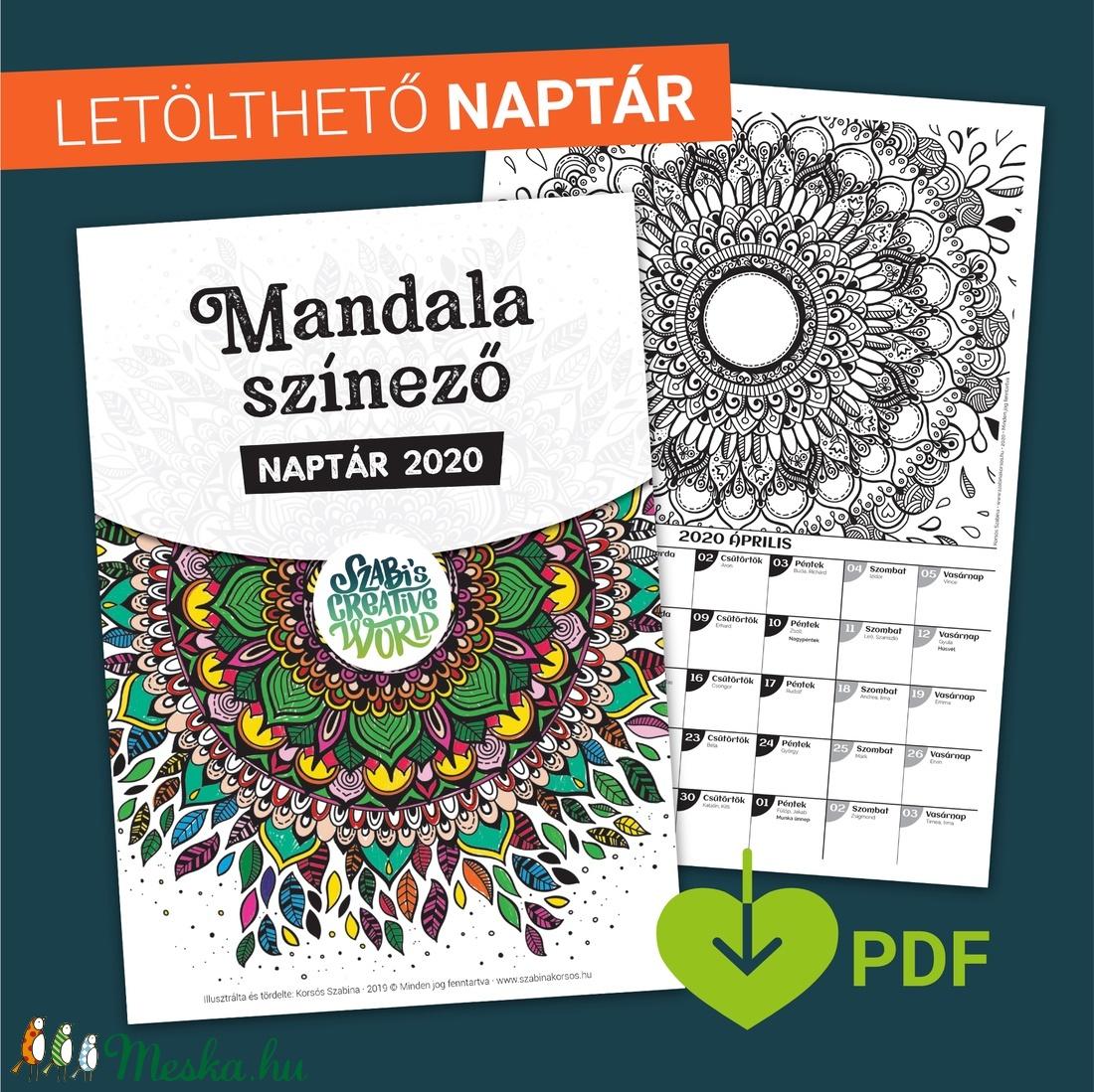 LETÖLTHETŐ 2020-as naptár, mandala színező (PDF) -  - Meska.hu