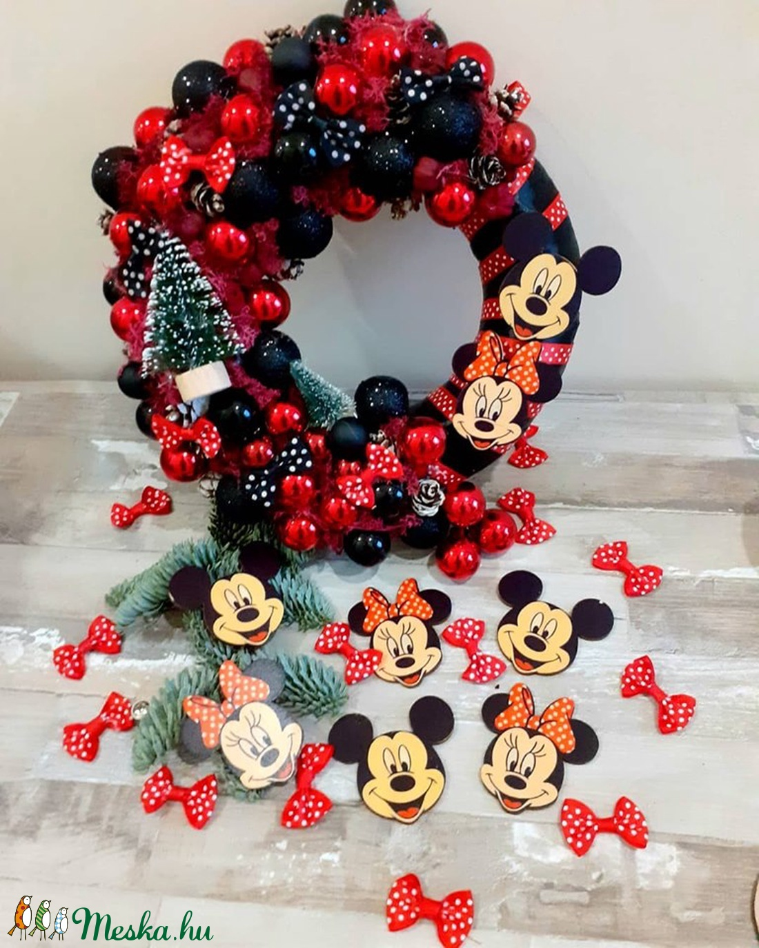 Mickey és Minie ajtódísz karácsonyi (Szajolka) - Meska.hu