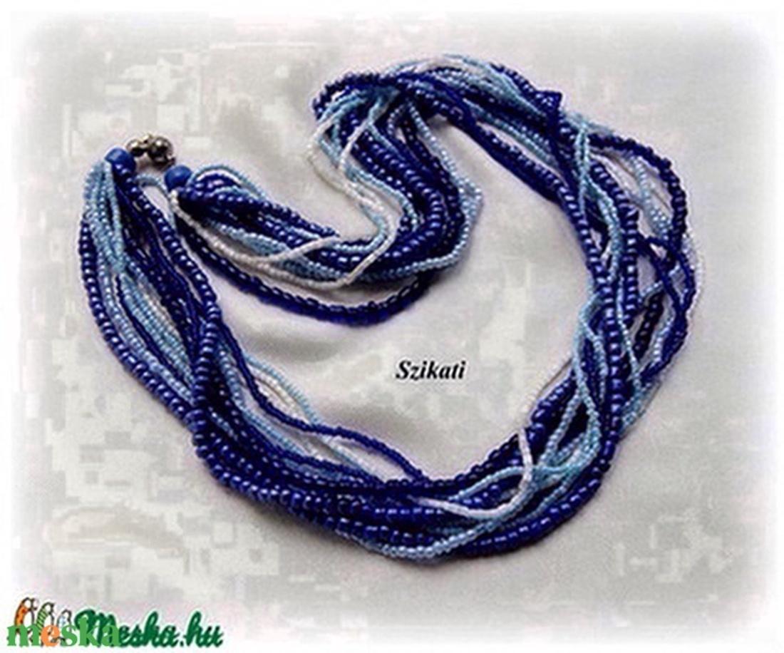 Kék árnyalatok - többsoros gyöngyfűzött nyaklánc - ékszer - nyaklánc - gyöngyös nyaklác - Meska.hu