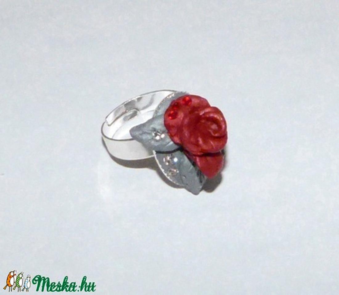 Rózsás Swarovski gyűrű! - ékszer - gyűrű - figurális gyűrű - Meska.hu