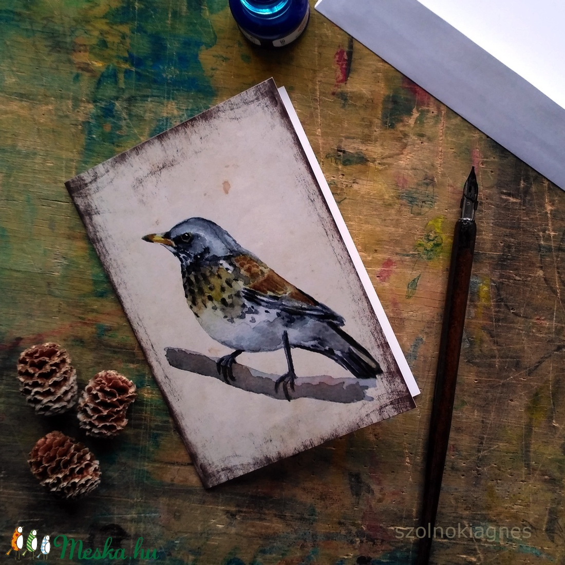 Fenyőrigó - festményeim képeslapon, borítékkal (szolnokiagnes) - Meska.hu