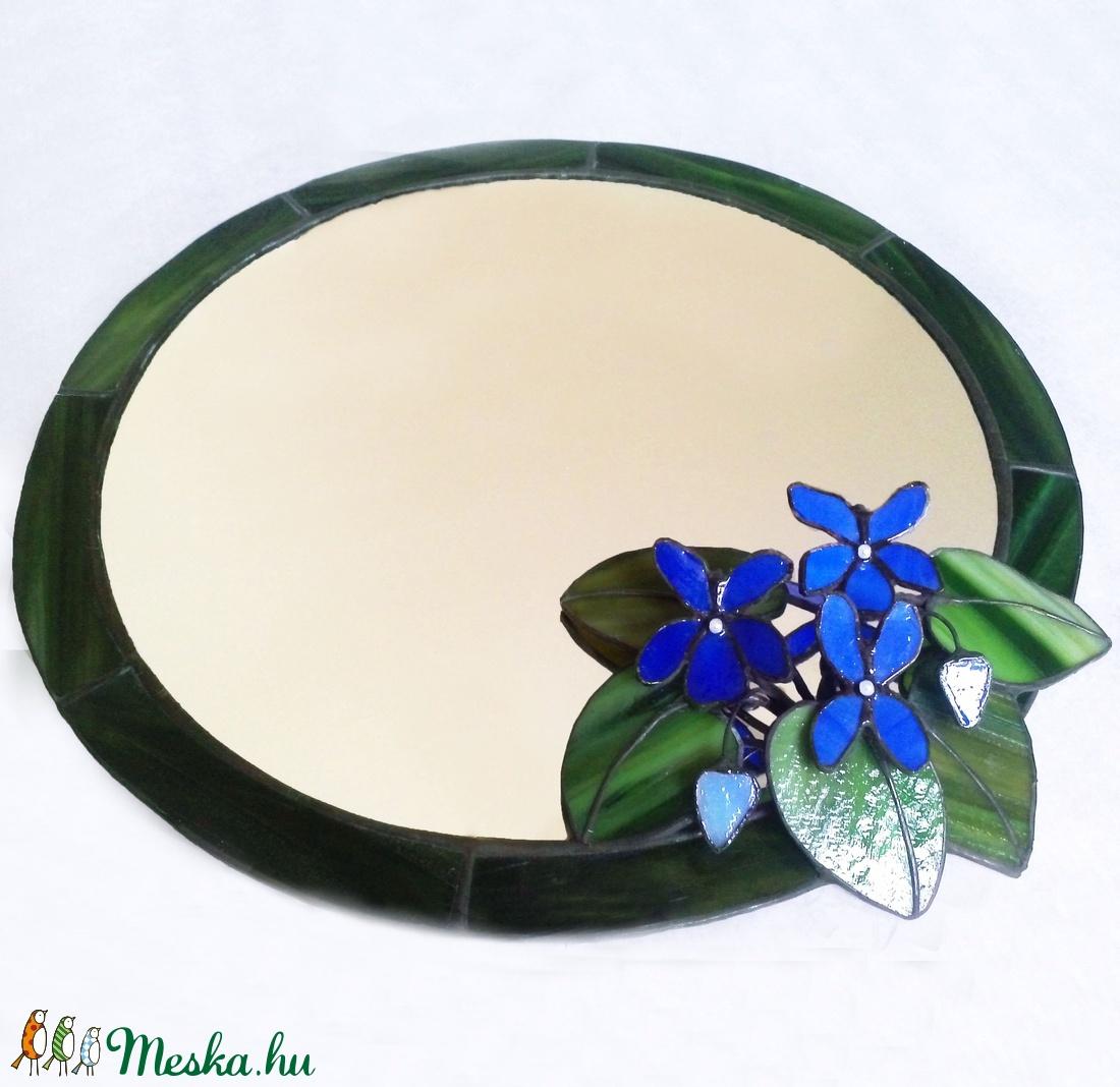 Lila ibolyás tükör tiffany-üvegből - otthon & lakás - dekoráció - tükör - Meska.hu