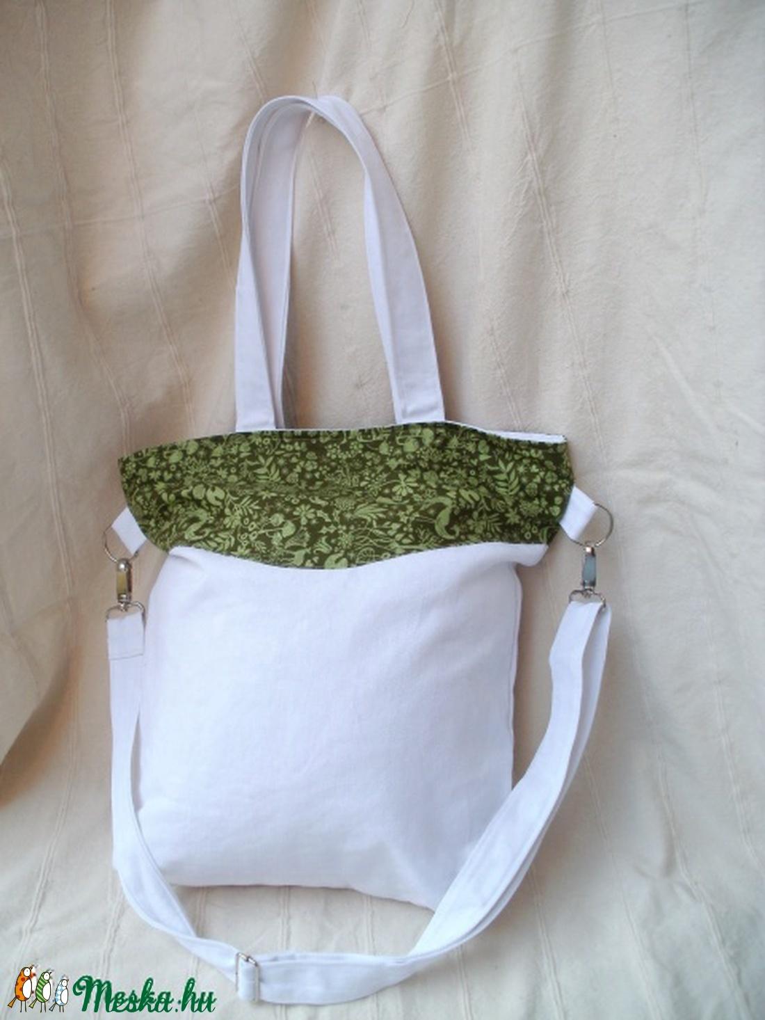 Fehér - zöld vászon pakolós táska (Szundilla) - Meska.hu 066c141dcc