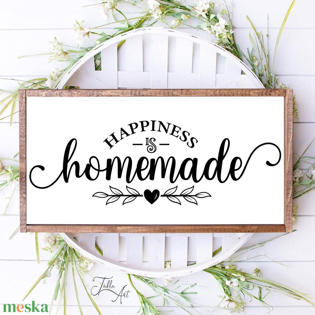 Happiness is homemade 40x20 cm fa tábla - otthon & lakás - dekoráció - táblakép - Meska.hu