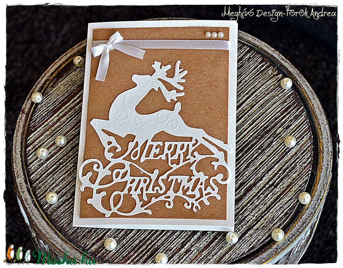 Natúr rénszarvas karácsonyi képeslap - karácsony - karácsonyi ajándékozás - karácsonyi képeslap, üdvözlőlap, ajándékkísérő - Meska.hu