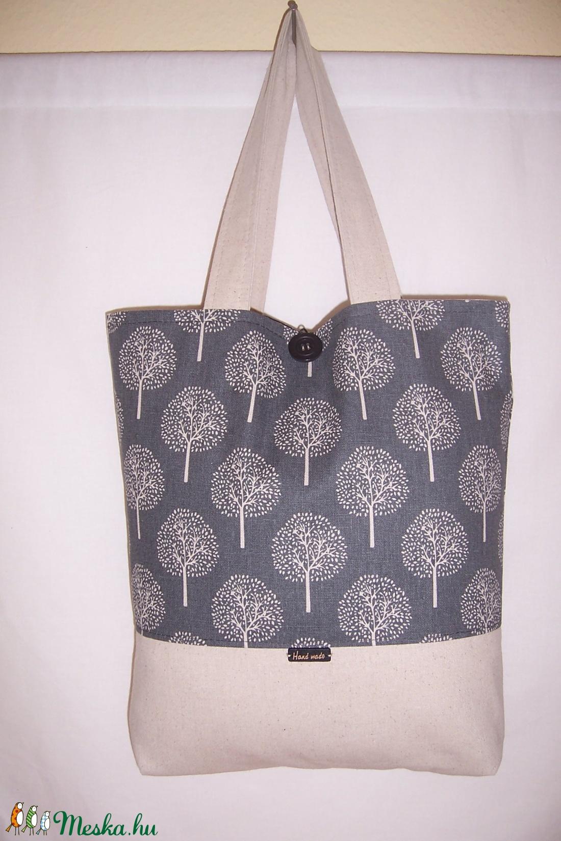 Szürke fa mintás bélelt táska normál füllel (textilcseppek) - Meska.hu b8df963b66
