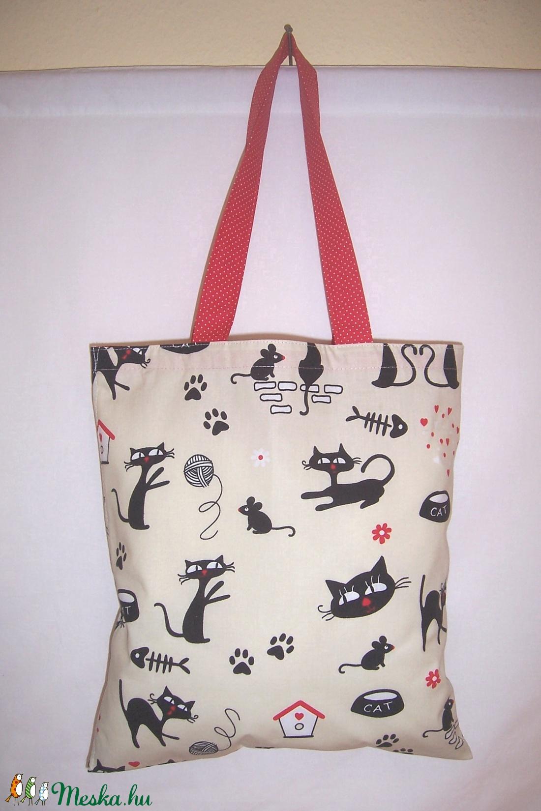 Drapp cica mintás táska  (textilcseppek) - Meska.hu