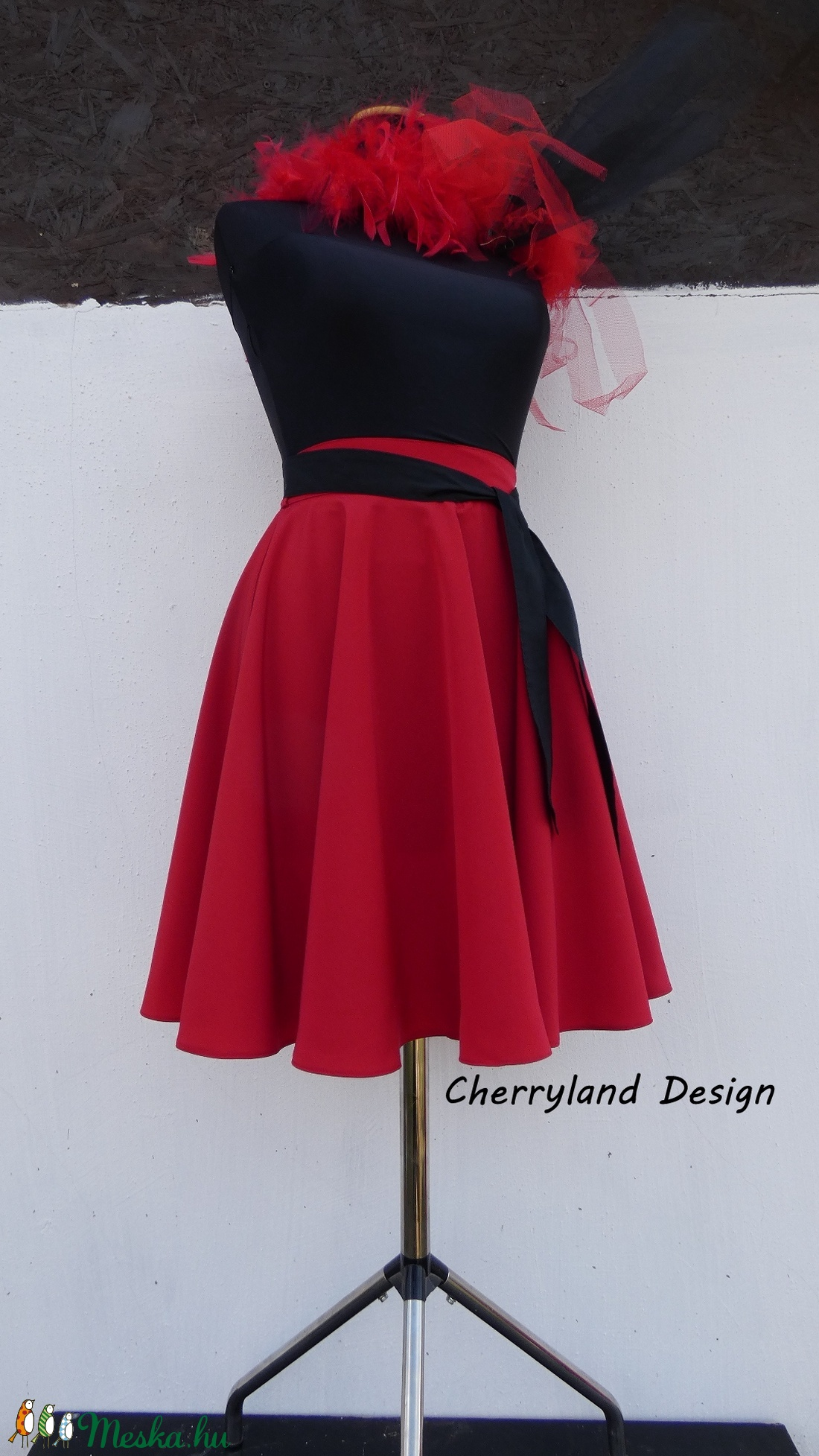 Cherryland Design Piros pamutvászon   Rockabilly stílusú szoknya  (textilmester) - Meska.hu