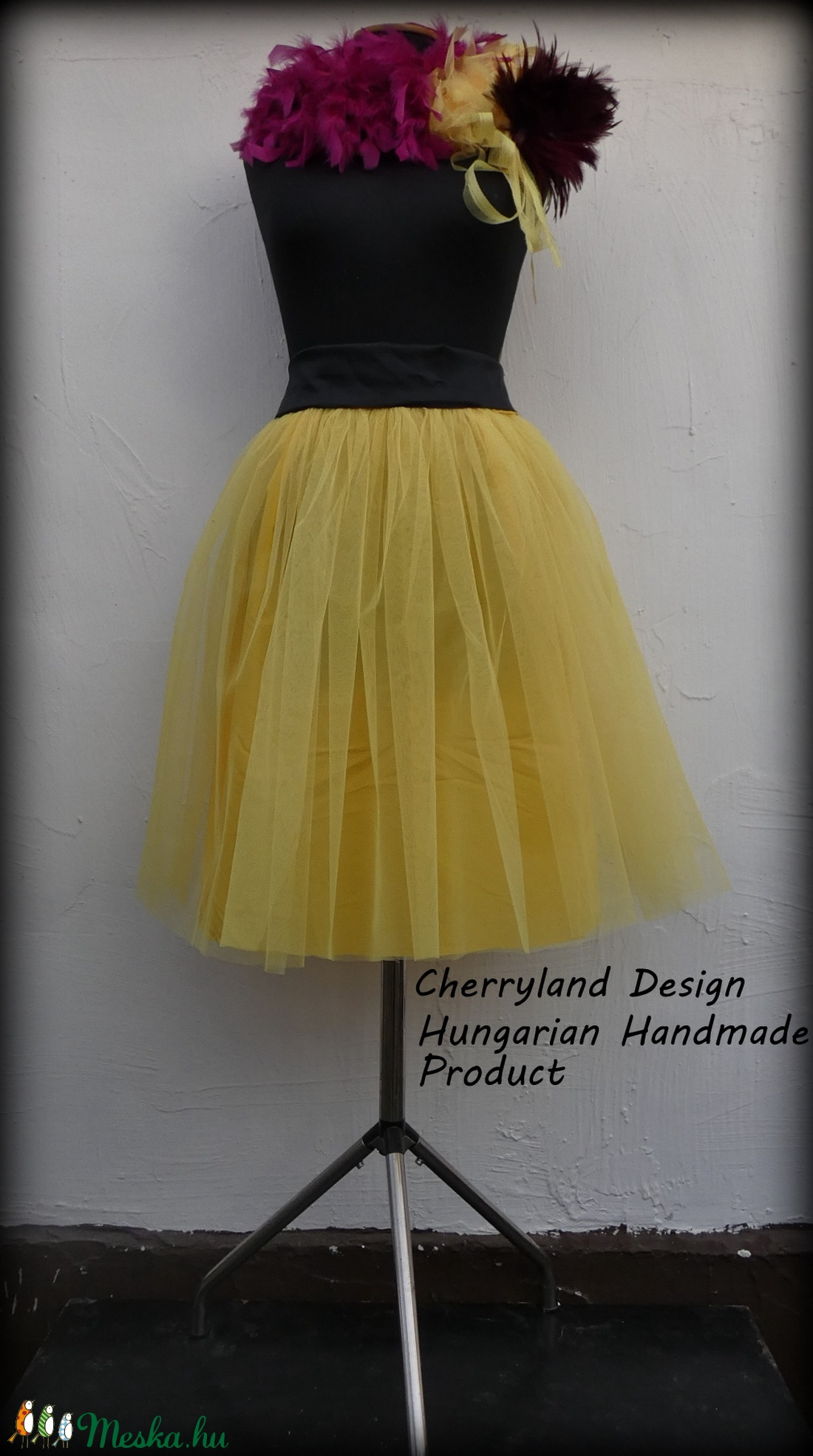 Cherryland Design Sárga Tüll Szoknya/Yellow Tulle Skirt - ruha & divat - női ruha - szoknya - Meska.hu