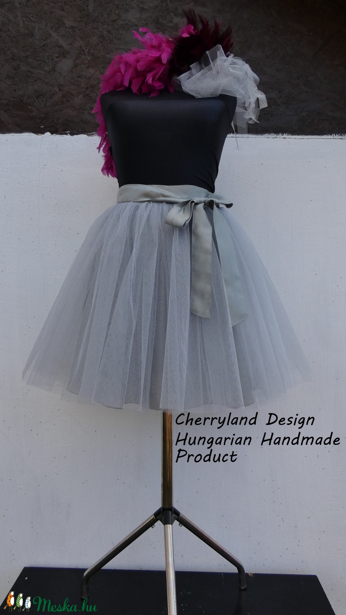 Cherryland Design Szürke  Tüll Szoknya /Grey Tulle Skirt - Meska.hu