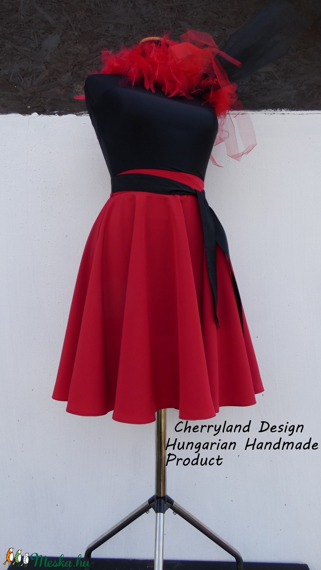 Cherryland Design Piros Nehézselyem  Rockabilly stílusú szoknya  - ruha & divat - női ruha - szoknya - Meska.hu