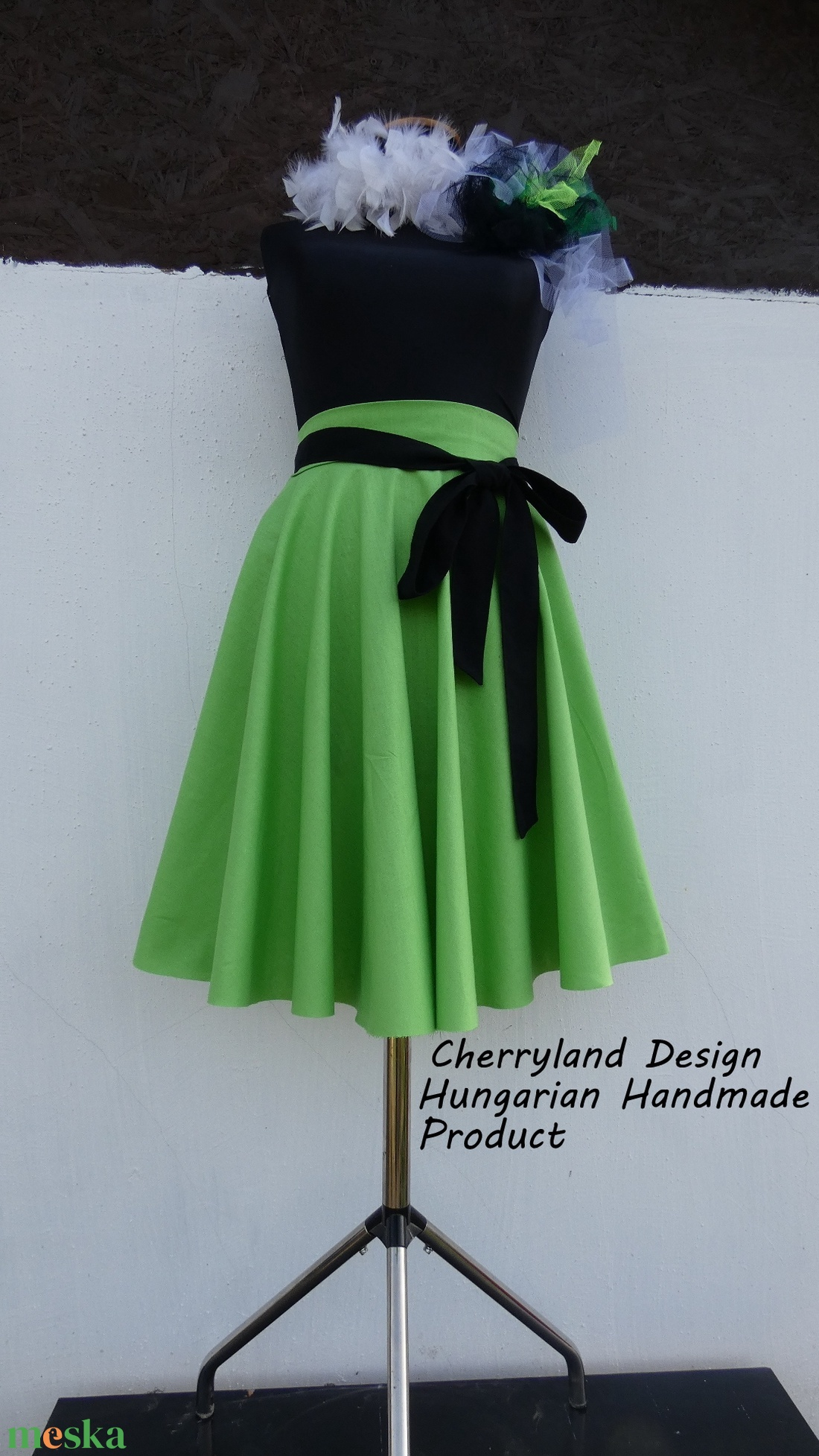 Cherryland Design Zöld  Rockabilly stílusú szoknya  - Meska.hu