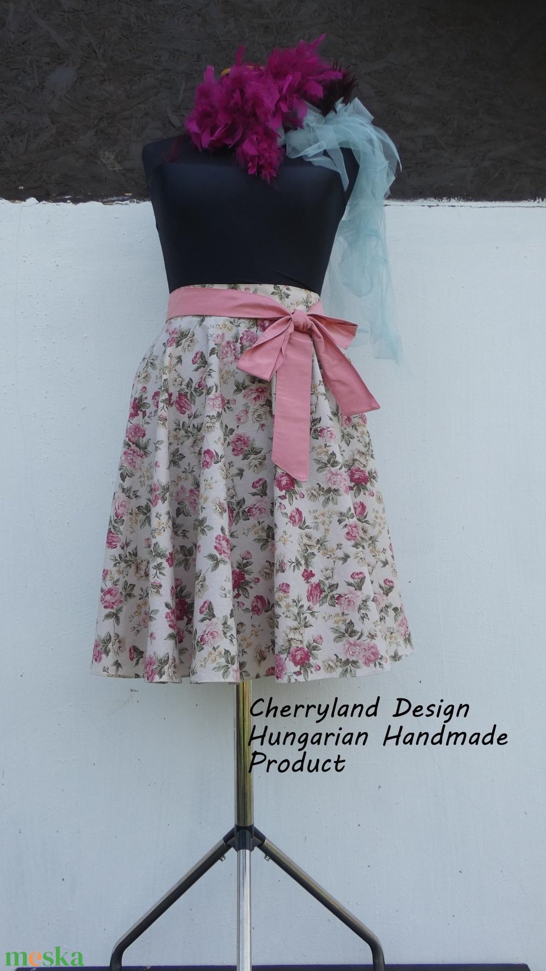 Cherryland Design Vintage virágmintás rockabilly szoknya. - ruha & divat - női ruha - szoknya - Meska.hu