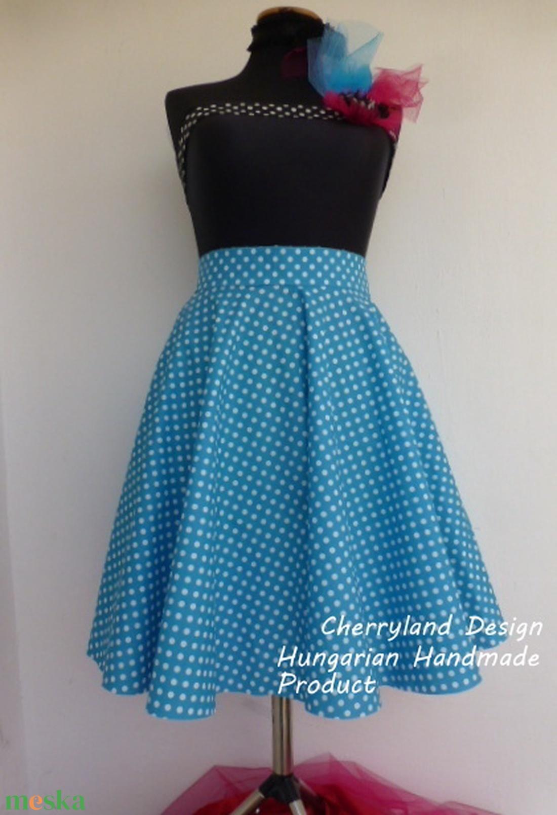 Cherryland Design Kék-Fehér  pöttyös rockabilly szoknya. - Meska.hu