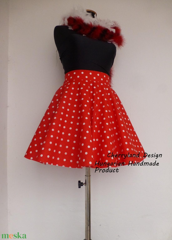 Cherryland Design Piros-Fehér pöttyös rockabilly szoknya./Alsószoknyával - ruha & divat - női ruha - szoknya - Meska.hu