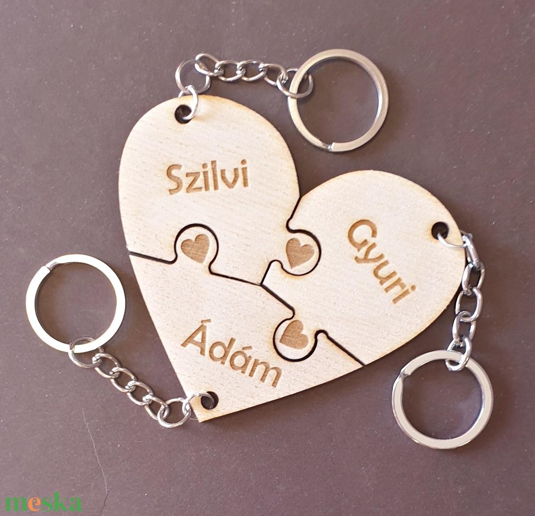 Együtt örökre puzzle szív kulcstartó 3 részes - táska & tok - kulcstartó & táskadísz - kulcstartó - Meska.hu