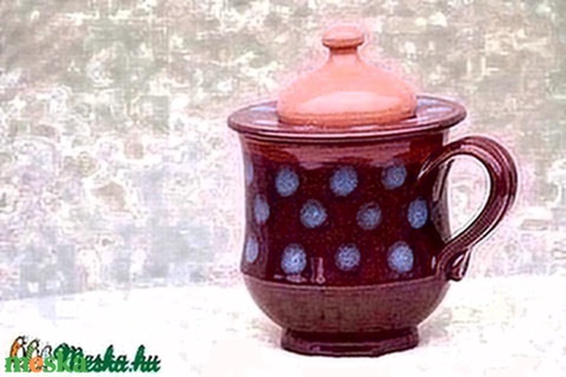 Fedeles-szűrős kék pöttyös barna bögre - otthon & lakás - konyhafelszerelés - bögre & csésze - Meska.hu
