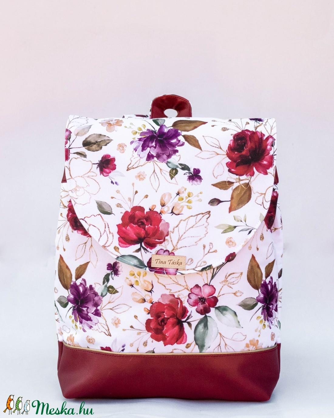 Bordó - fehér, virágos hátizsák - táska & tok - hátizsák - hátizsák - Meska.hu