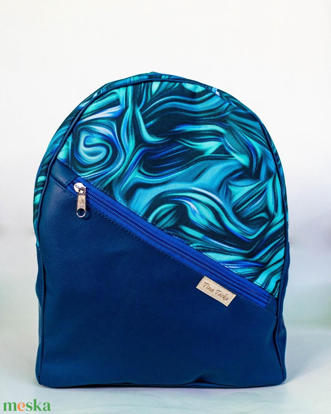 Egyedi tervezésű hátizsák - sötétkék-türkiz, absztrakt mintás - táska & tok - hátizsák - hátizsák - Meska.hu