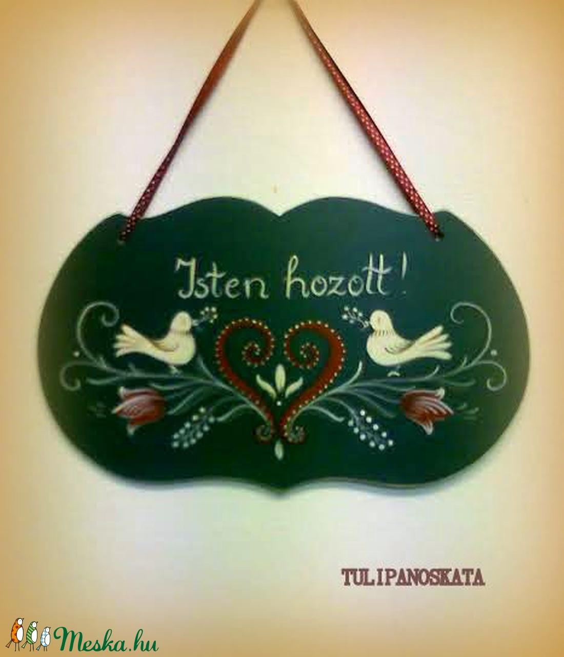 Festett  üdvözlő tábla, tulipános, madaras   mintával, Isten hozott felirattal (tulipanoskata) - Meska.hu