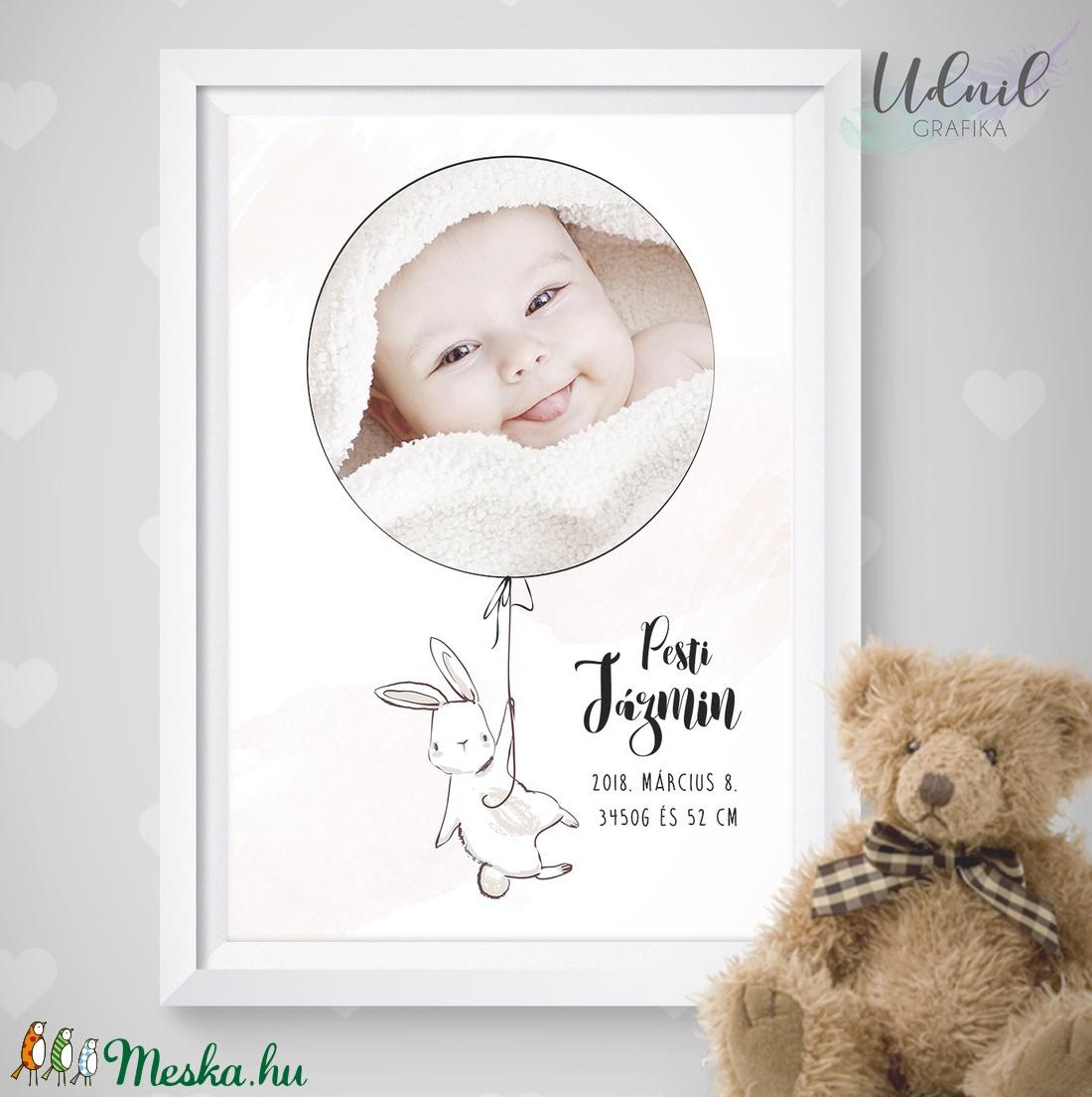 Nyuszis baba poszter saját fotóval és névvel - Neves ajándék - falikép 86744c80d9