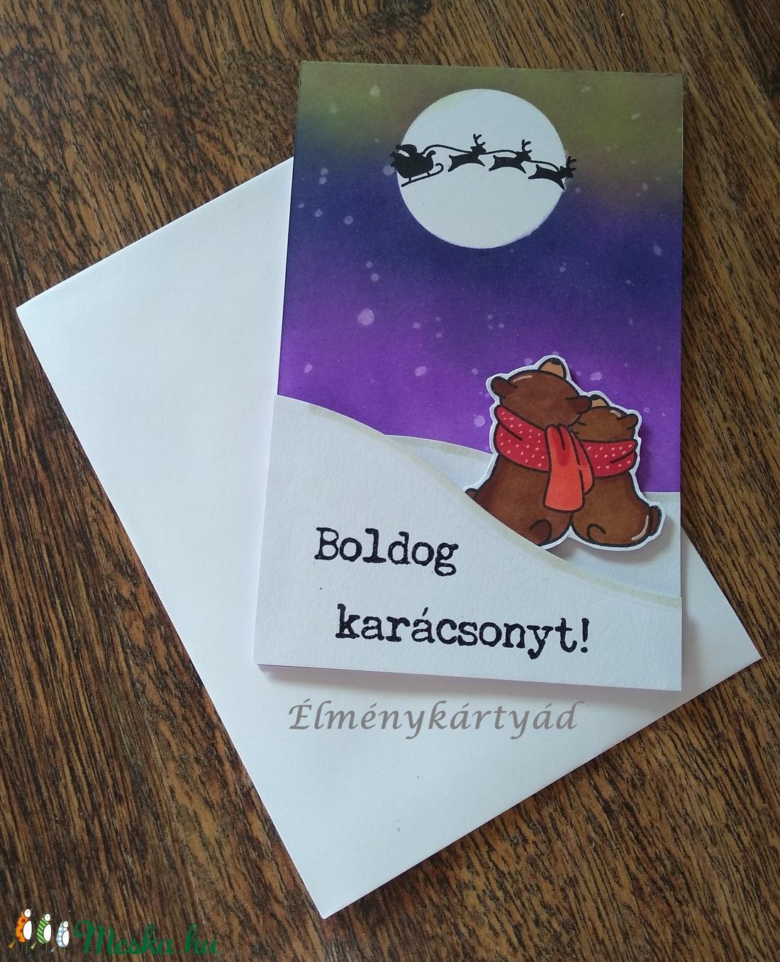 KARÁCSONYI MACKÓK ÉLMÉNYKÁRTYA, Christmas Bears (UniqueCardbyT) - Meska.hu