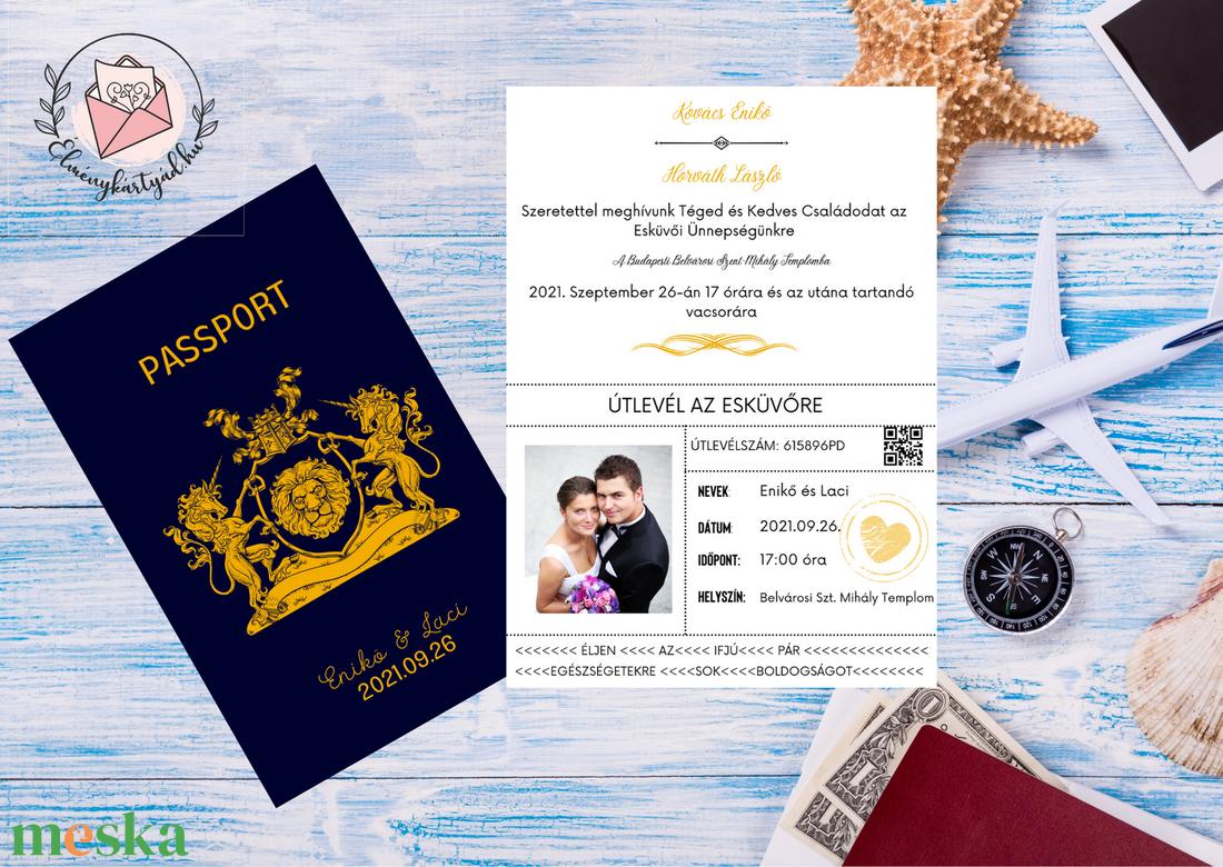 Passport Esküvői Meghívó, Útlevél stílusú, Modern meghívó, Tengerészkék, Navy, Burgundy, Fényképes meghívó, Nyári esküvő - esküvő - meghívó & kártya - meghívó - Meska.hu