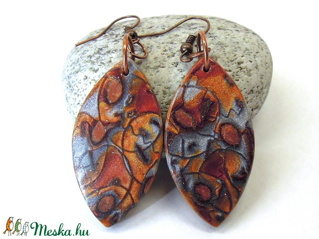 Nemes rozsda  -  hosszú fülbevaló, polymer clay fülbevaló - ékszer - fülbevaló - lógó fülbevaló - Meska.hu