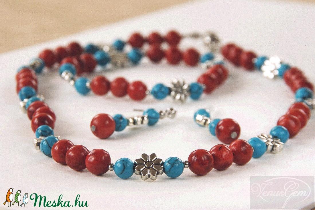Virágos szett (nyaklánc, karkötő, fülbevaló) / Flowery set (necklace, bracelet, ear-ring)  - Meska.hu