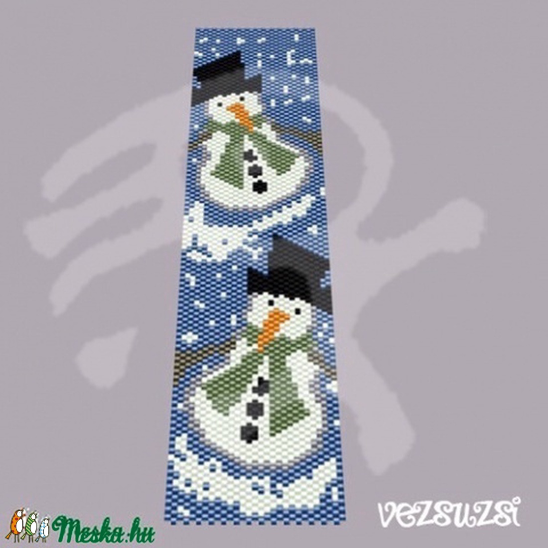 Hóember... peyote karkötő minta (vezsuzsiminta) - Meska.hu