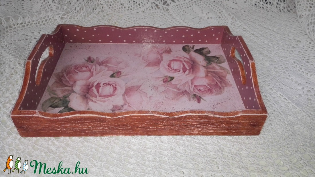 Vintage stílusú rózsás tálca fából - otthon & lakás - konyhafelszerelés - tálca - Meska.hu