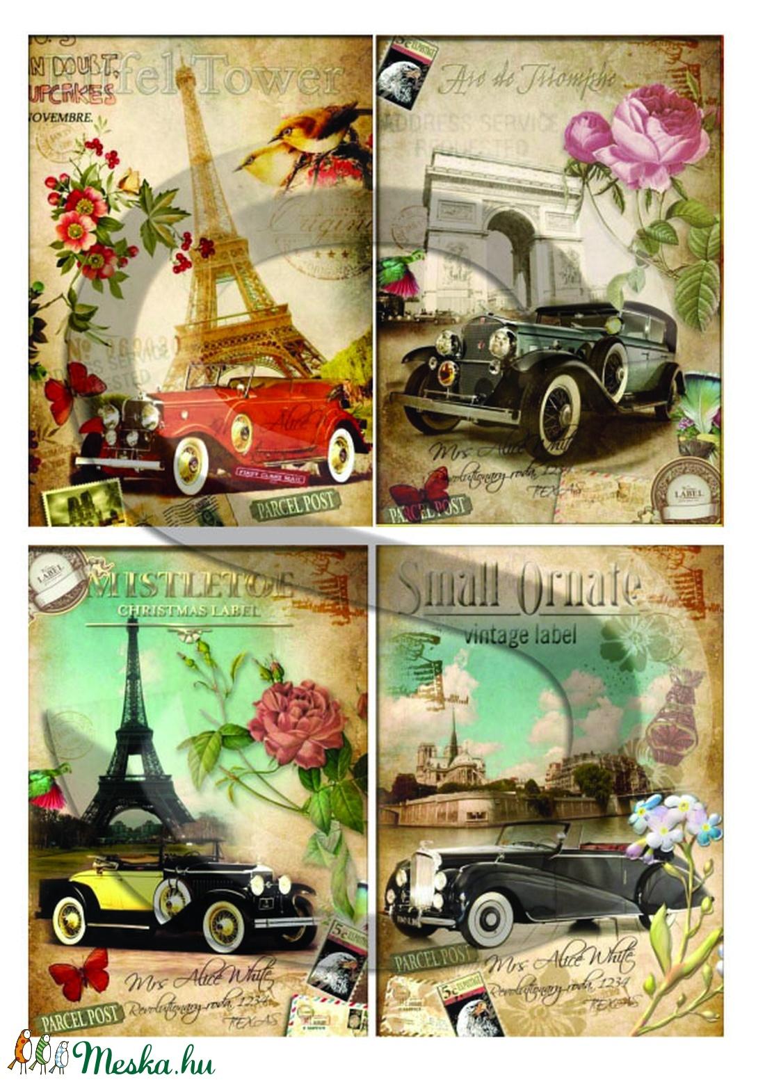 Vintage sorozat: Párizsi autómobilok - papír - decoupage papír - Meska.hu