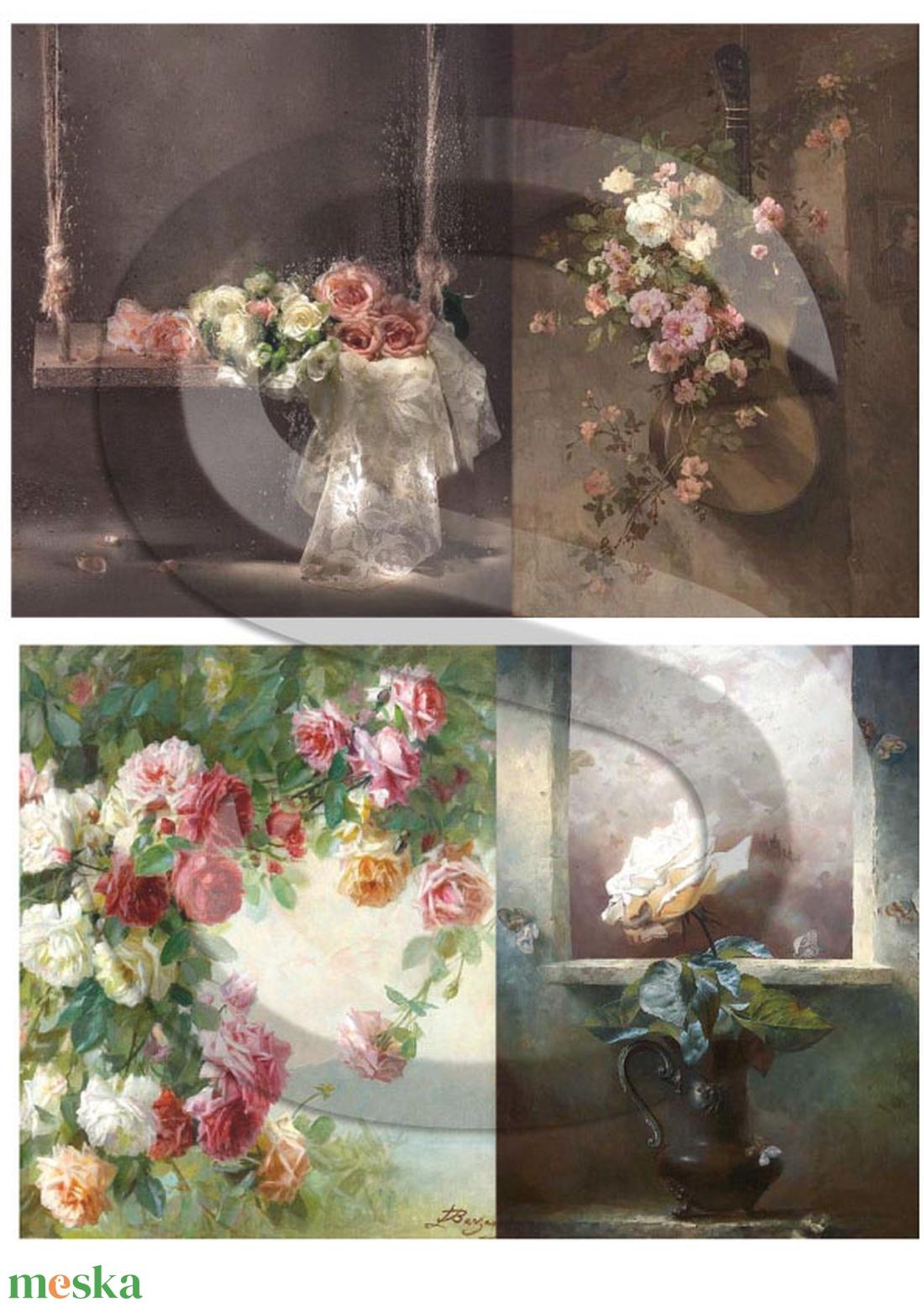 Akvarell sorozat: Rózsa-csendélet - Meska.hu