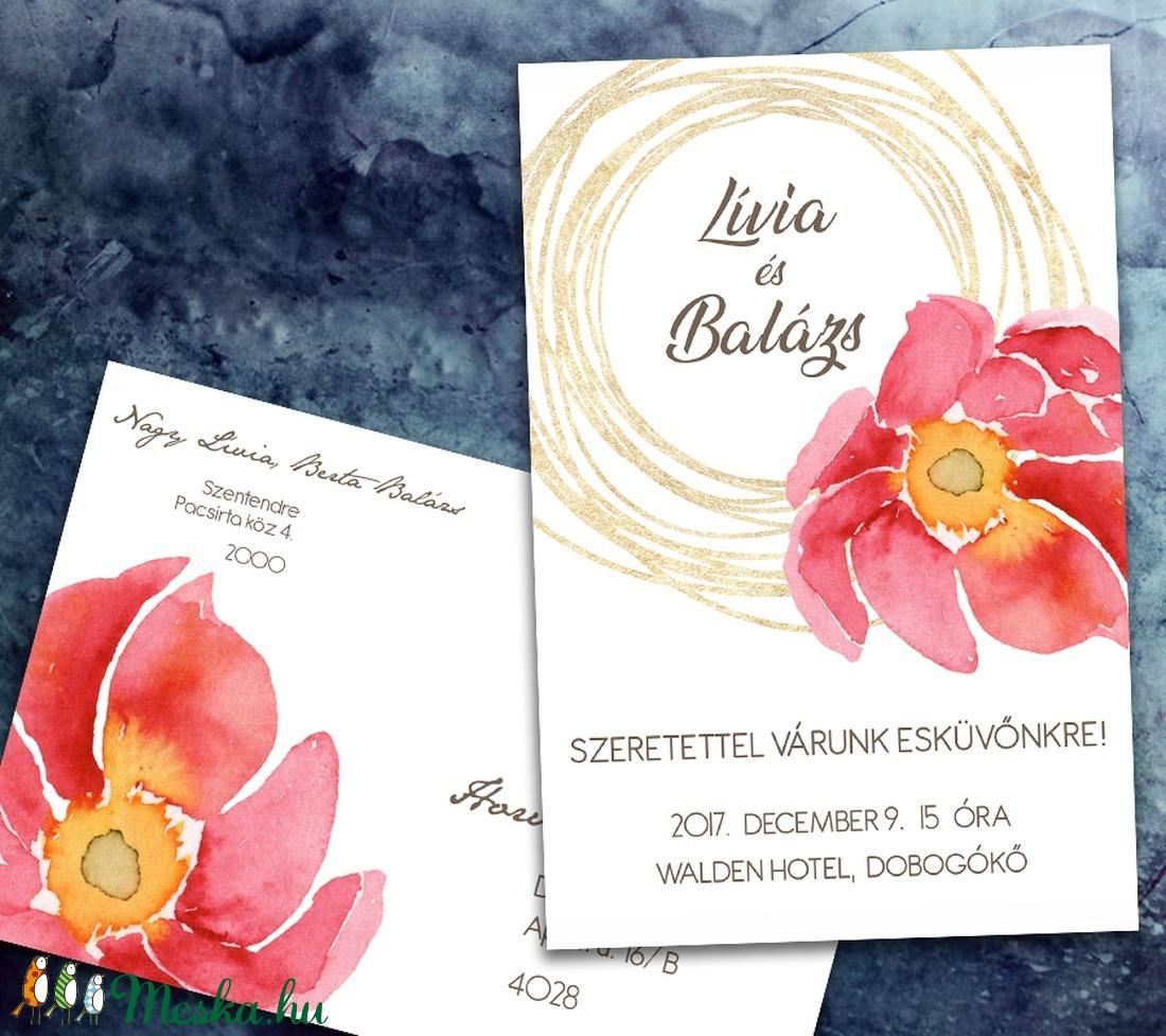 e95cab1534 Esküvői meghívó különleges borítékban - nagy virág arany firkával