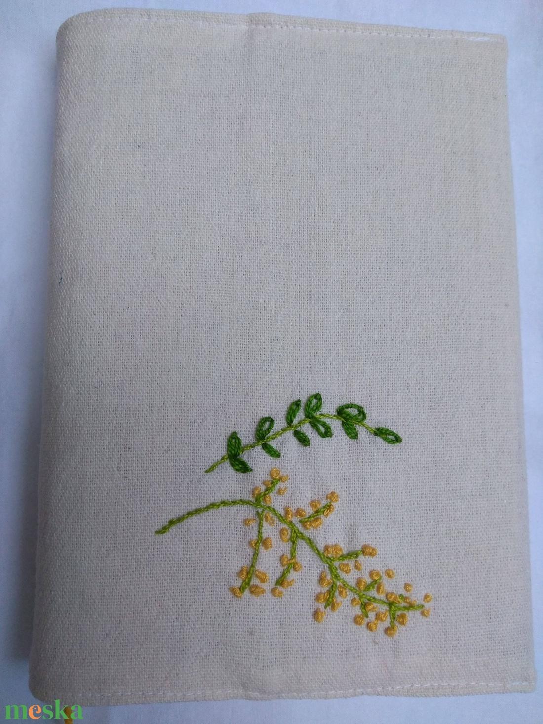 Kézi hímzéssel (mimóza) díszített vászon könyvborító - otthon & lakás - papír írószer - Meska.hu