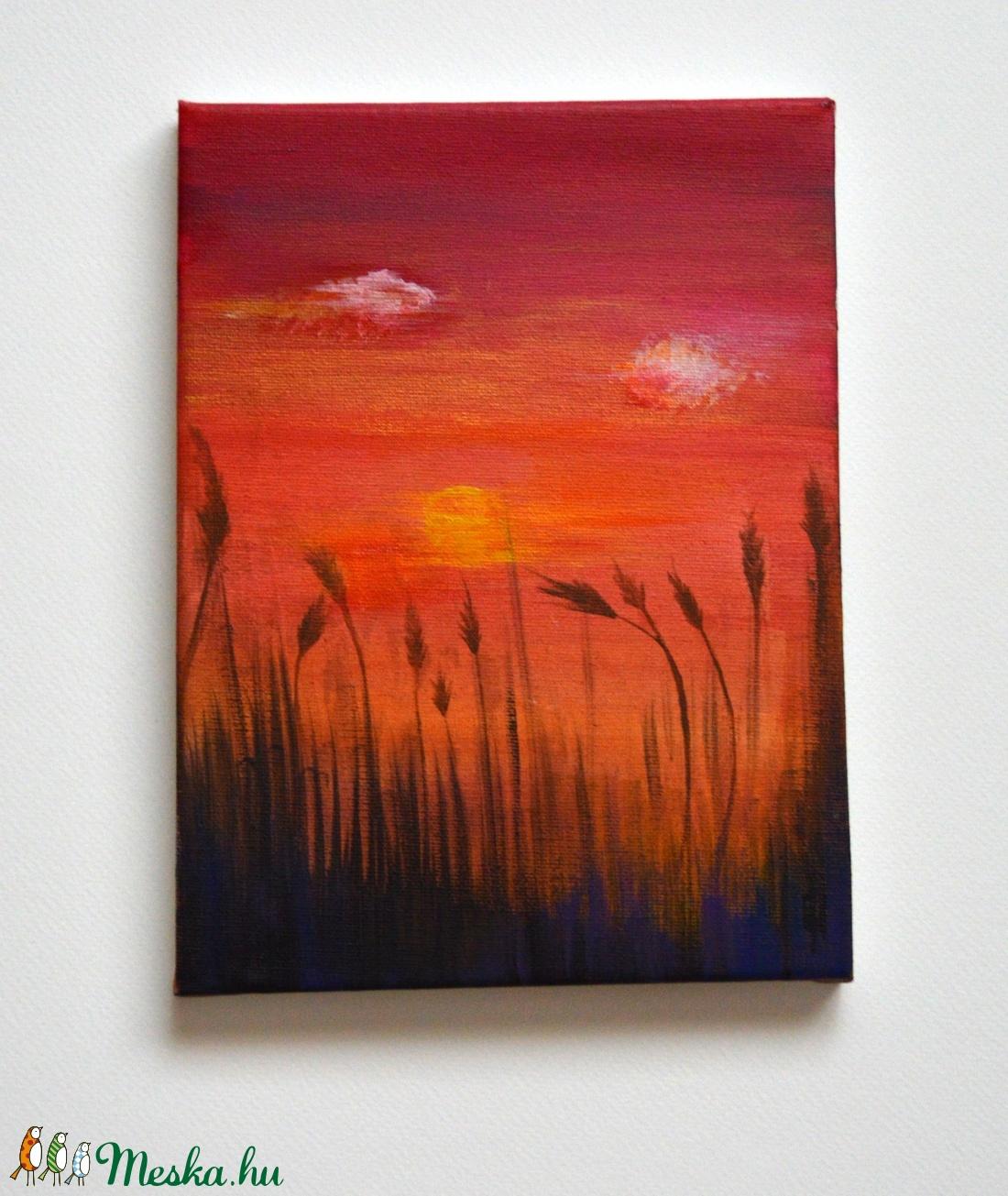 Nádas és naplemente vászon kép (WaterLily) - Meska.hu