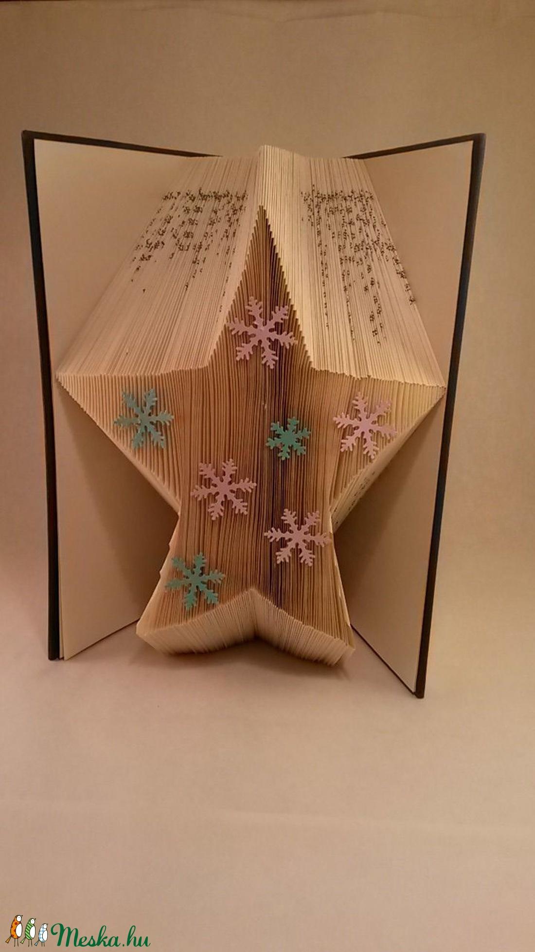 3D Csillag hajtogatott könyvszobor - Advent - Asztaldísz - Origami ajándék  - Hópihe - E39 b7275a8e8e