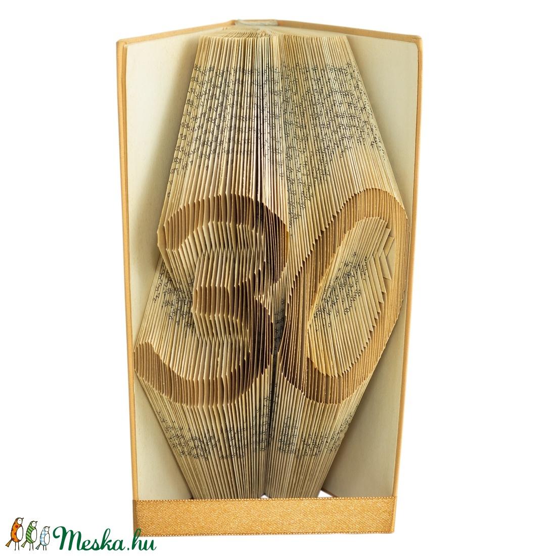 30 Egyedi számos hajtogatott könyv origami, születésnapra, házassági évfordulóra, két szám, könyvszobor, barátnak,E663  (Wolfabric) - Meska.hu