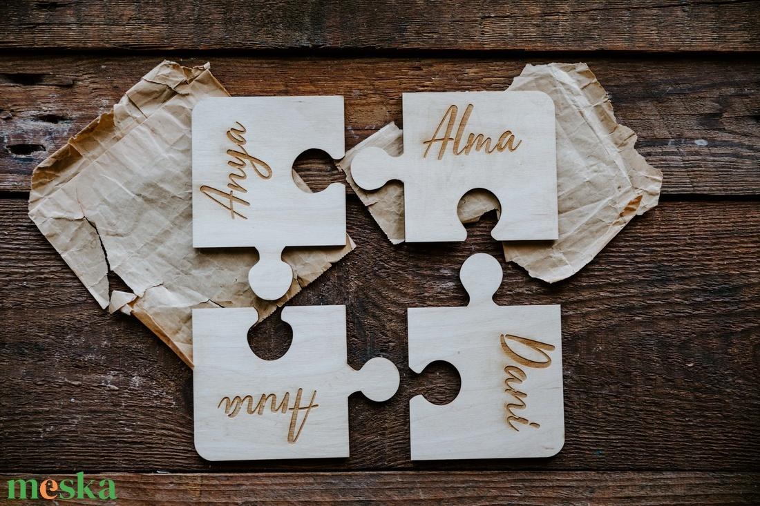 4 darabos névre szóló puzzle poháralátét szett - otthon & lakás - konyhafelszerelés - tányér- és poháralátét - Meska.hu