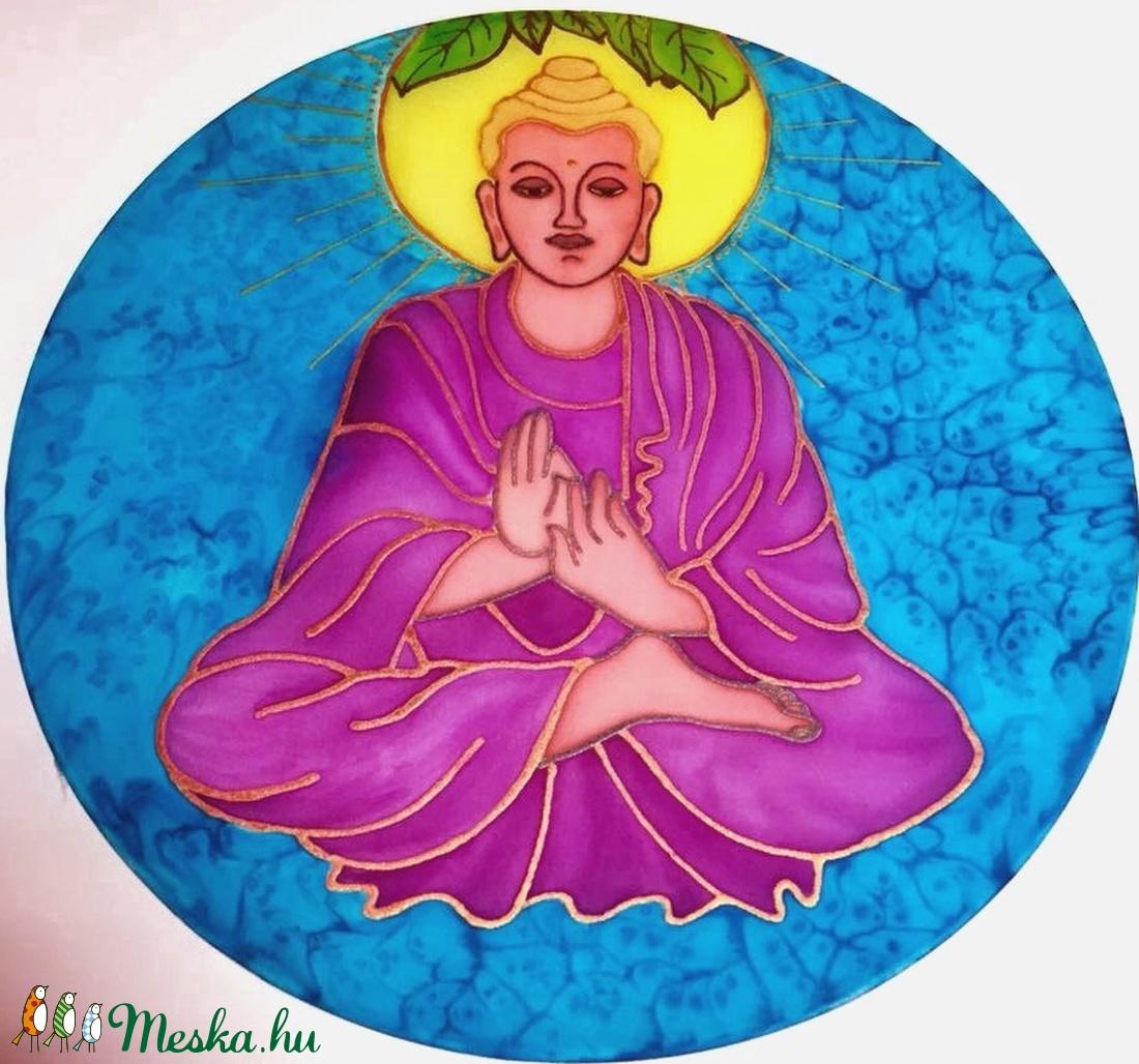 Áldó Buddha selyemkép - művészet - festmény - festmény vegyes technika - Meska.hu