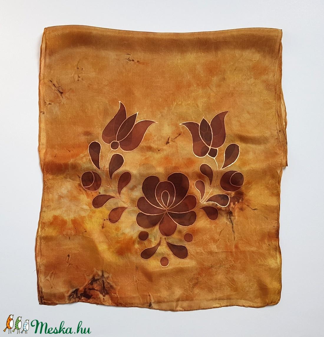 Kézzel festett színes SELYEMSÁL, magyar népművészet, matyó virág, barna és bronz_17 - ruha & divat - sál, sapka, kendő - sál - Meska.hu