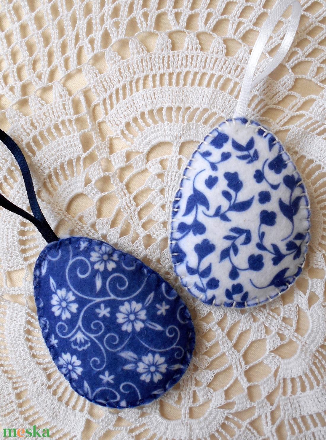 Népies mintás húsvéti tojás szett sötétkék-fehér (2 db) (ZoeCollection) - Meska.hu
