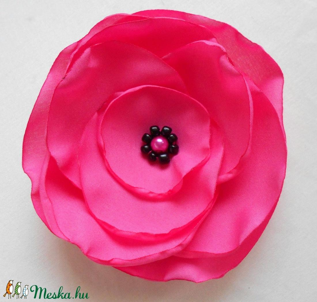Selyem virág kitűző (pink) (ZoeCollection) - Meska.hu