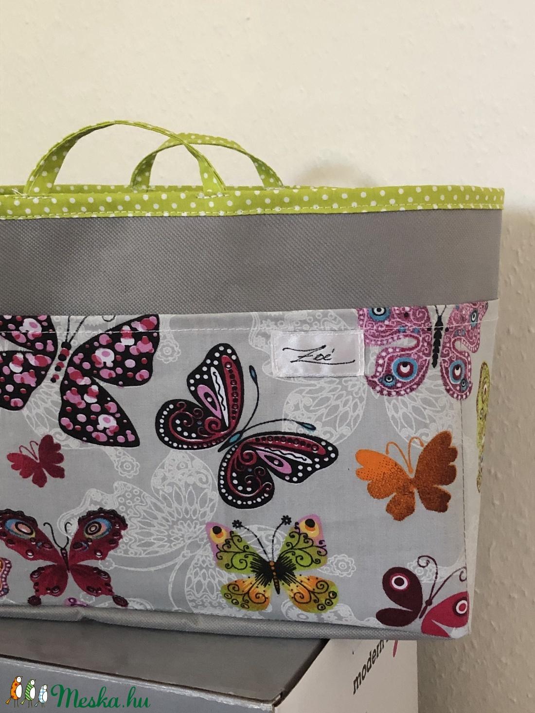 Táskarendező szürke-színes pillangós - táska & tok - kézitáska & válltáska - belső rendező - Meska.hu