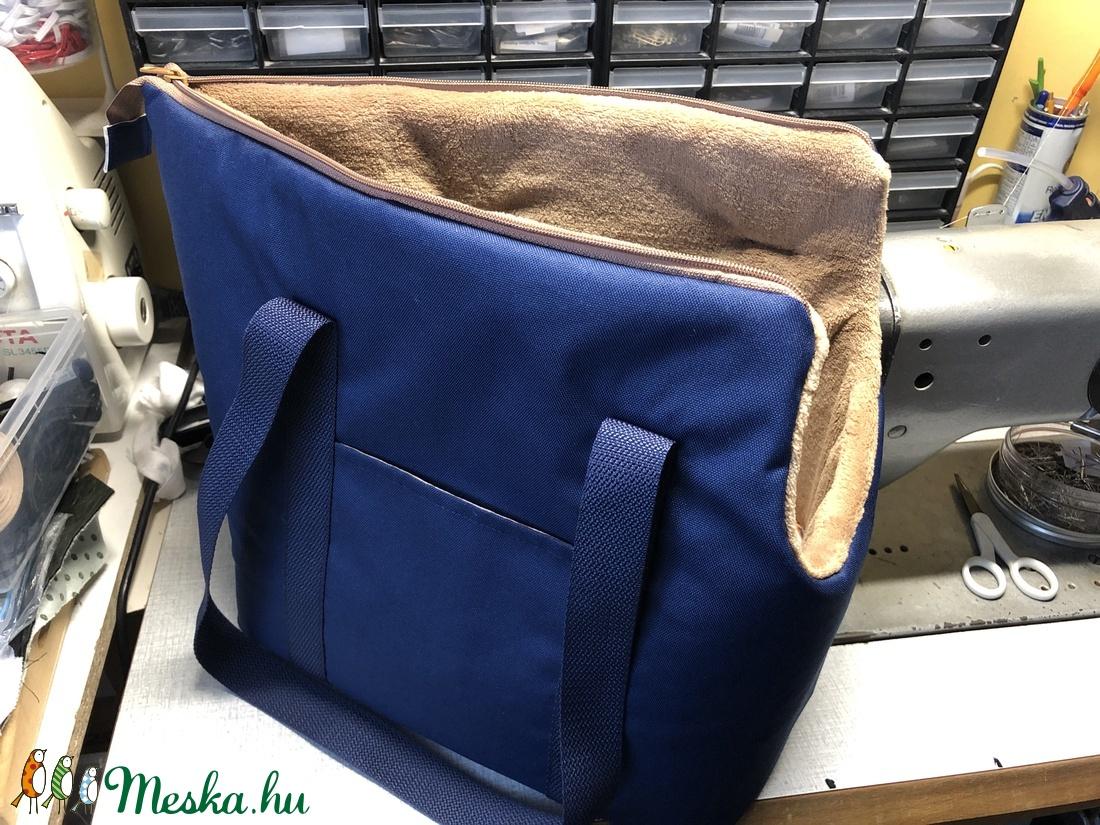 Kutyahordozó táska  kék-mogyoró béléssel - otthon & lakás - kisállatoknak - kutyáknak - Meska.hu