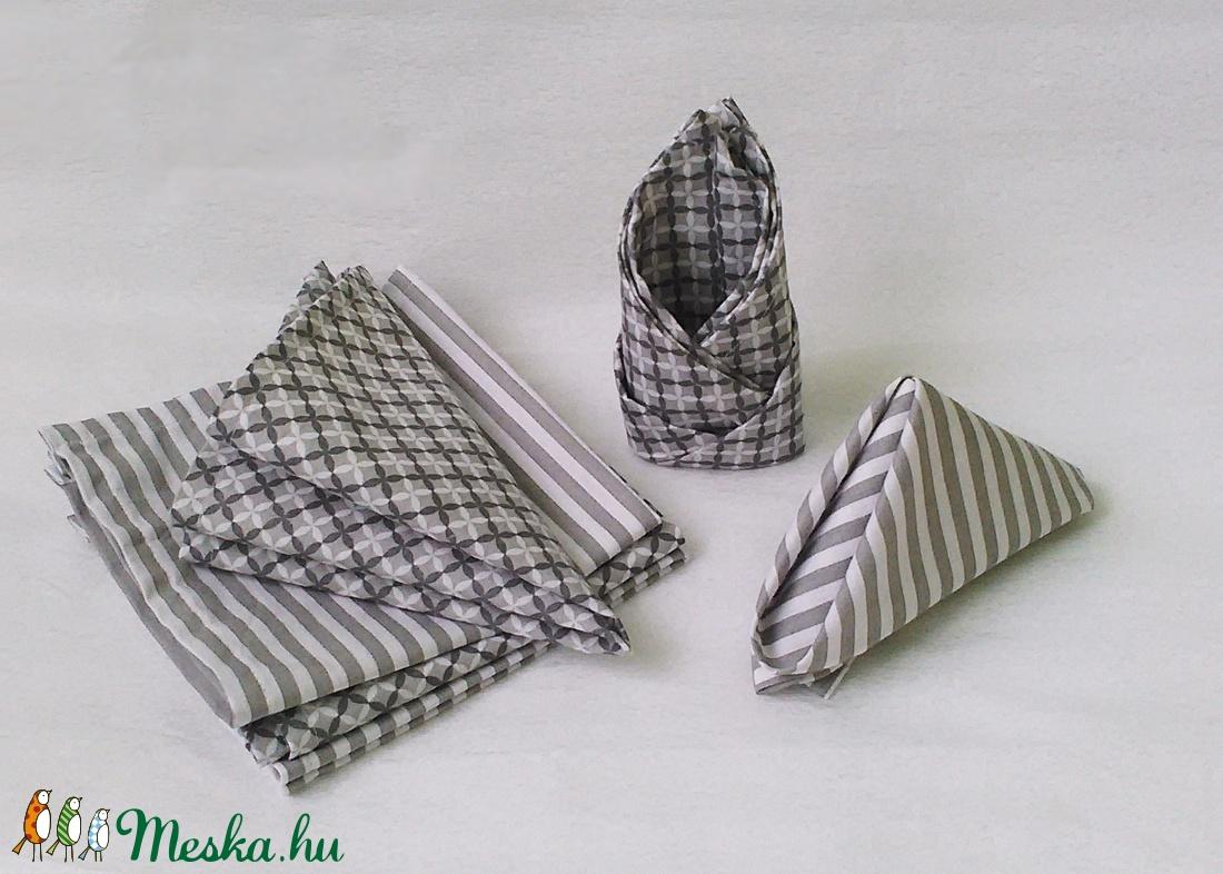 Szürke-fehér textil szalvéta készlet 6 db-os, VEGYES MINTA (zoldneklennijo) - Meska.hu