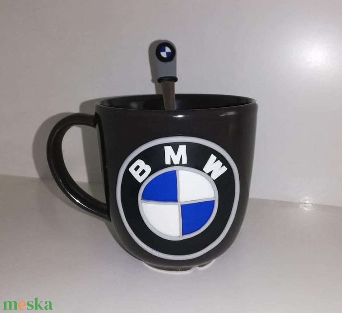 BMW  mintás bögre kanállal - Meska.hu